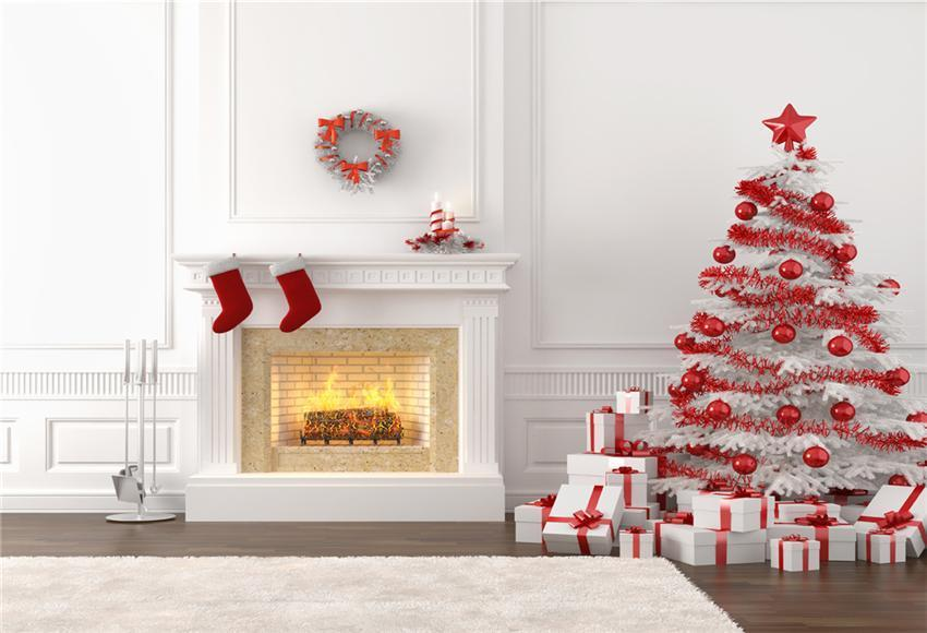 White Fireplace Christmas Backdrop for Photo