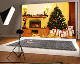 Vintage Brick Fireplace Christmas Backdrops