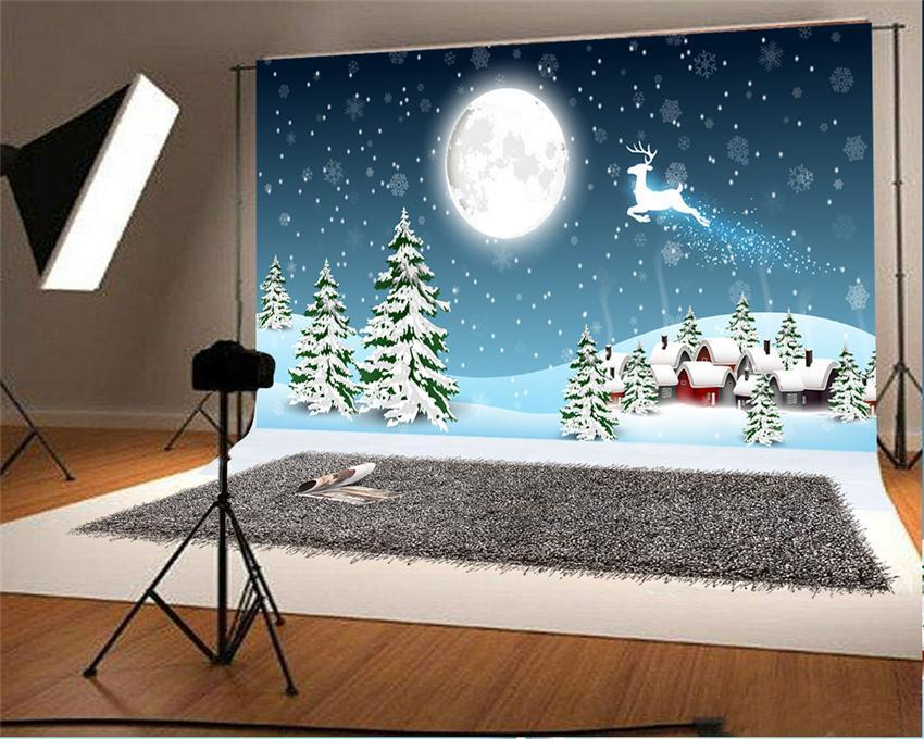 Bright Moon Christmas Photo Backdrop