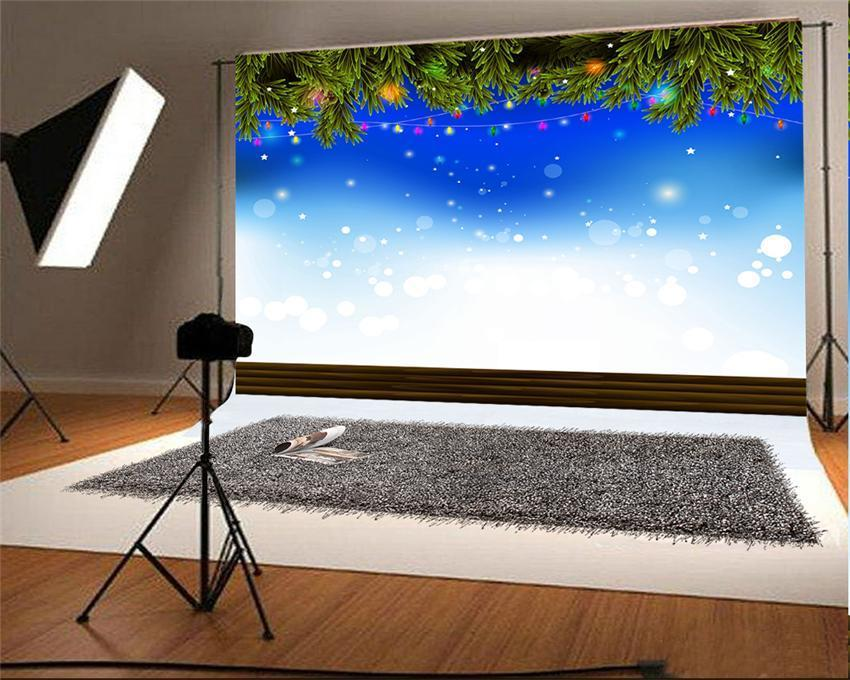 Christmas Tree Blue Sky Photography Backdrops
