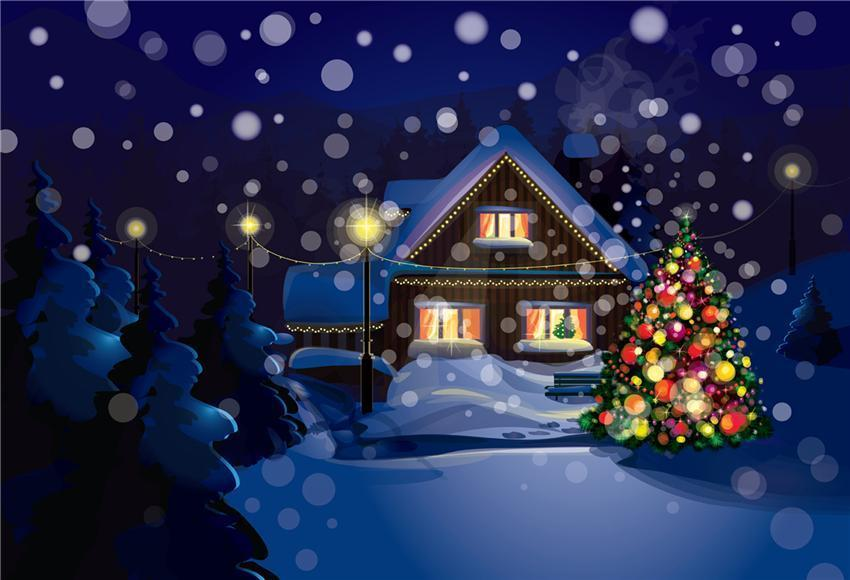 Night of Christmas Winter Backdrops