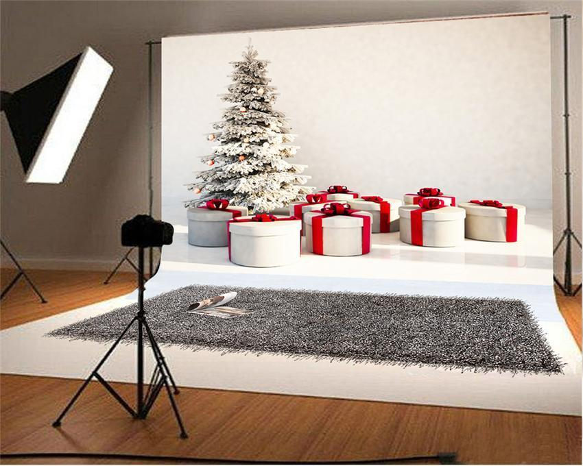 White Christmas Tree Fabric Photo Studio Backdrop