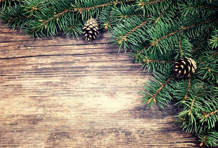 Brown Wood Wall Christmas Backdrops