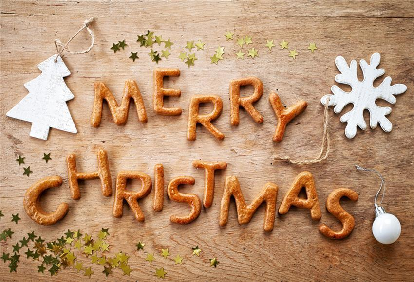 Wooden Merry Christmas Fabric Backdrops