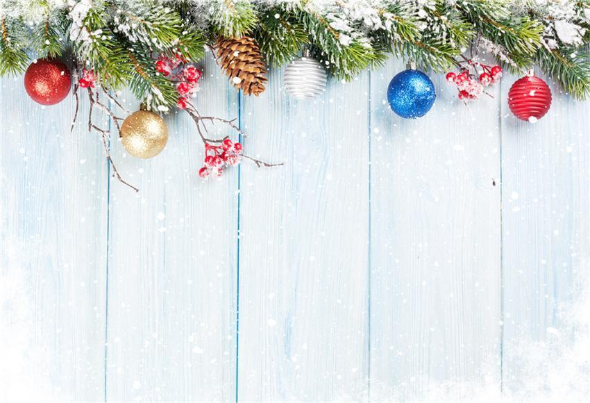 Blue Snow Wood Wall Colorful Bell Christmas Photo Backdrops