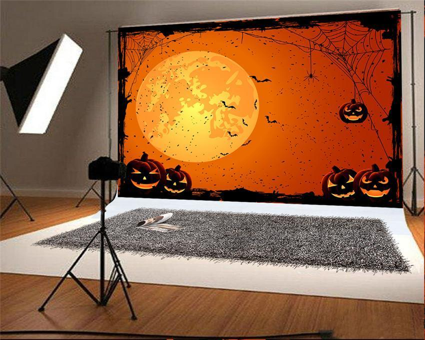 Orange Halloween Spider Web Photo Backdrop for Photography