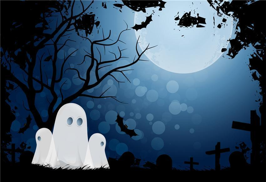 Bright Moon Halloween Ghost Backdrops