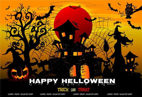 Trick or Treat Spider Web Halloween Backdrop