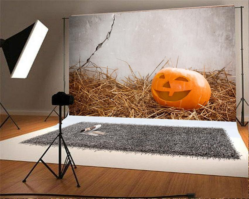 Haystack Halloween Pumpkin Photo Studio Backdrop
