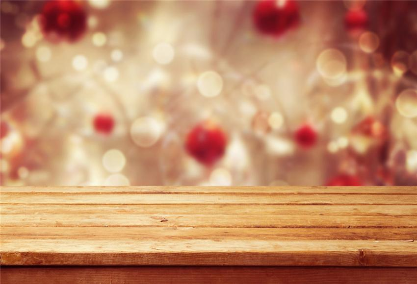 Bokeh Wood Floor Christmas Backdrops