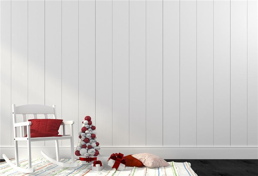 White Wood Wall Christmas Photography Prop Backdrop