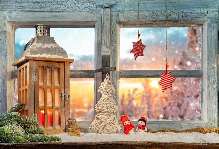 Christmas Wood Window Winter Backdrop