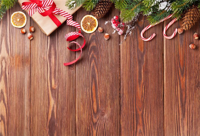 Brown Wood Wall Christmas Photography Backdrop