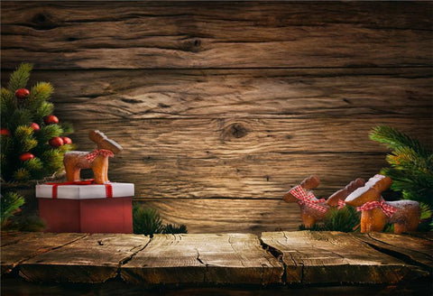 Wood Grain Christmas Photo Booth Backdrop
