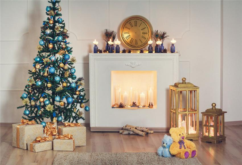 Christmas White Fireplace Backdrops