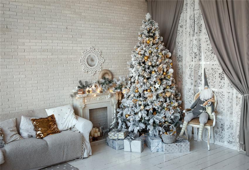 White Brick Wall Christmas Backdrops