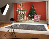 Red Christmas Brick Fireplace Photo Studio Backdrop