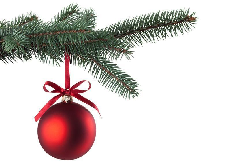 White Backdrop Red Bell Christmas Tree Background