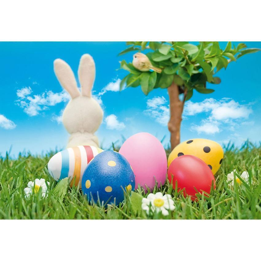 Rabbit And Colorful Eggs Backdrop For Easter Festival Photography