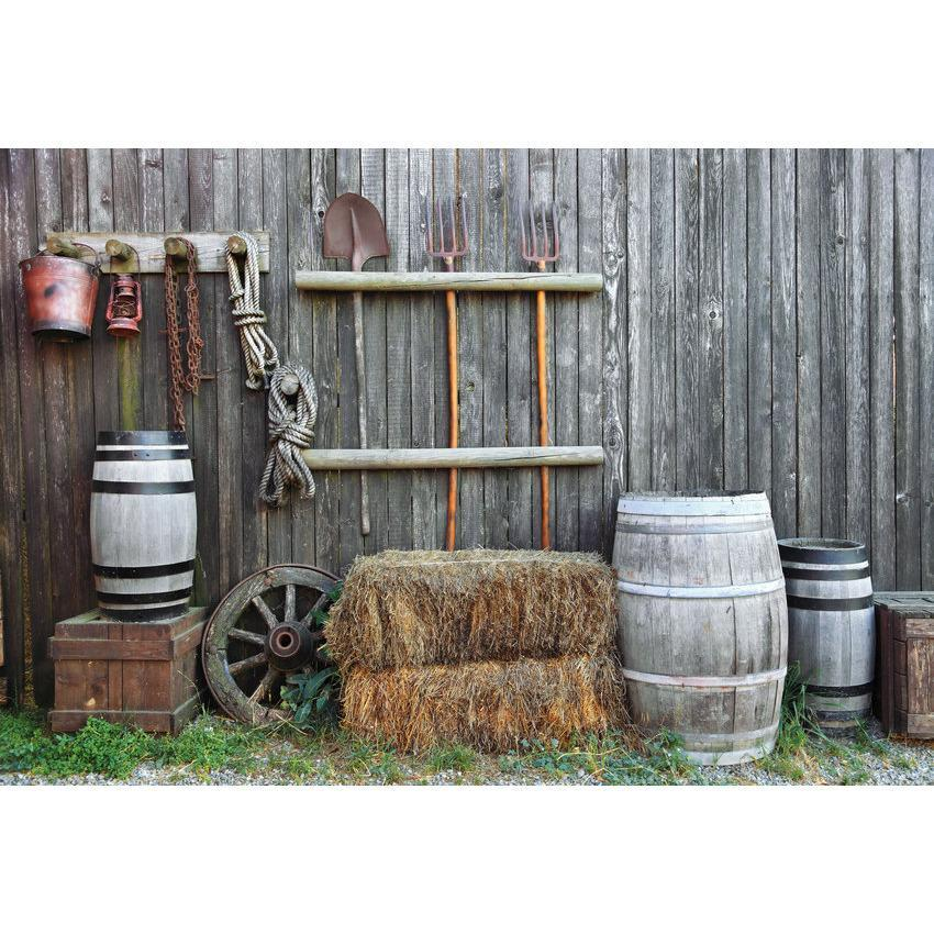 Farm Yard Wall with Tools and Vat Barn Backdrop for Photography
