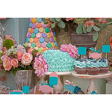 Colorful Flowers and Cake For Celebrate Baby First Birthday Photography Backdrop