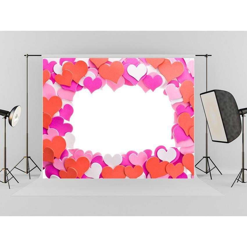 Pink Red Hearts Backdrop For Festival Photography Background