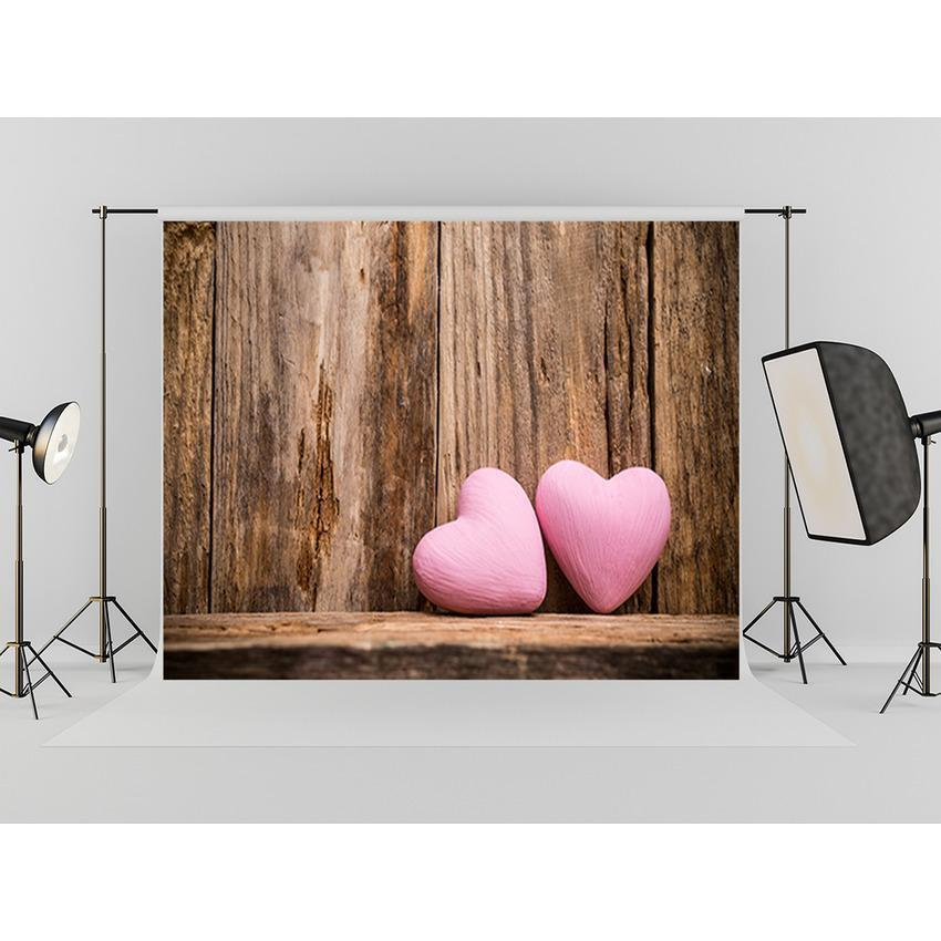Grunge Wood Wall With Pink Hearts Backdrop Mother's Photography Background