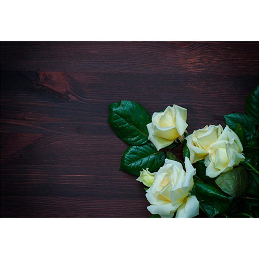 White Flowers On Dark Brown Wood Wall Backdrop For Mother's Day Photography