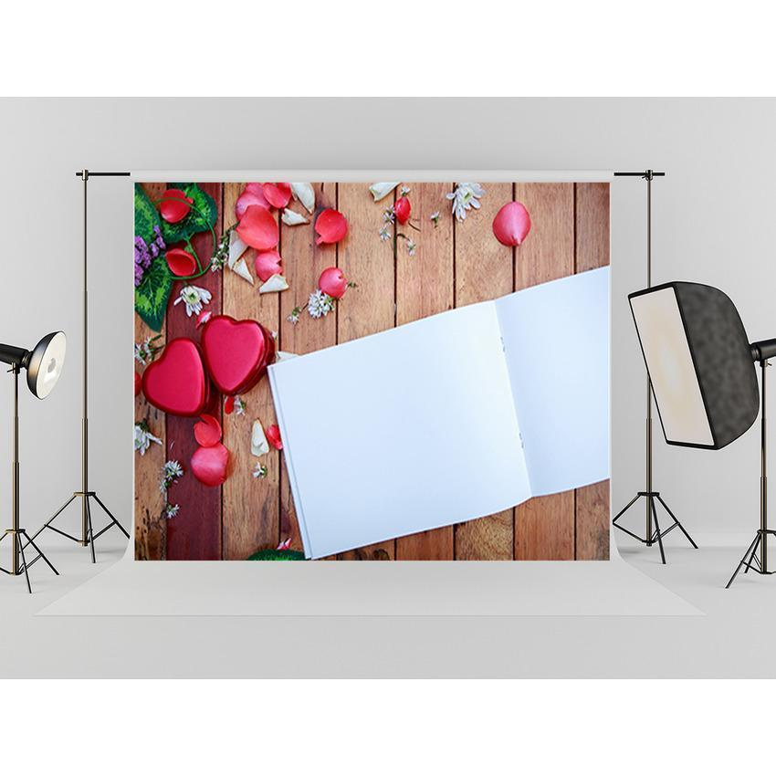 White Paper Red Flowers Decoration Wood Floor Backdrop For Mother's Day Photography