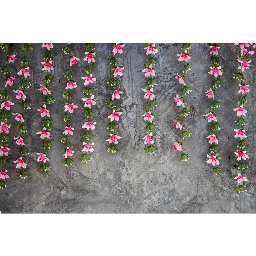 Little Red Flowers Hanging From Stones Backdrop For Photography
