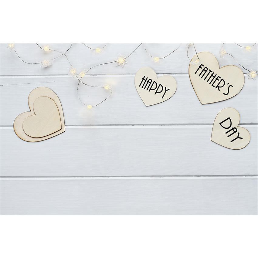 Love Heart Card On White Wood Floor Decoration Backdrop for Father's Day Photography