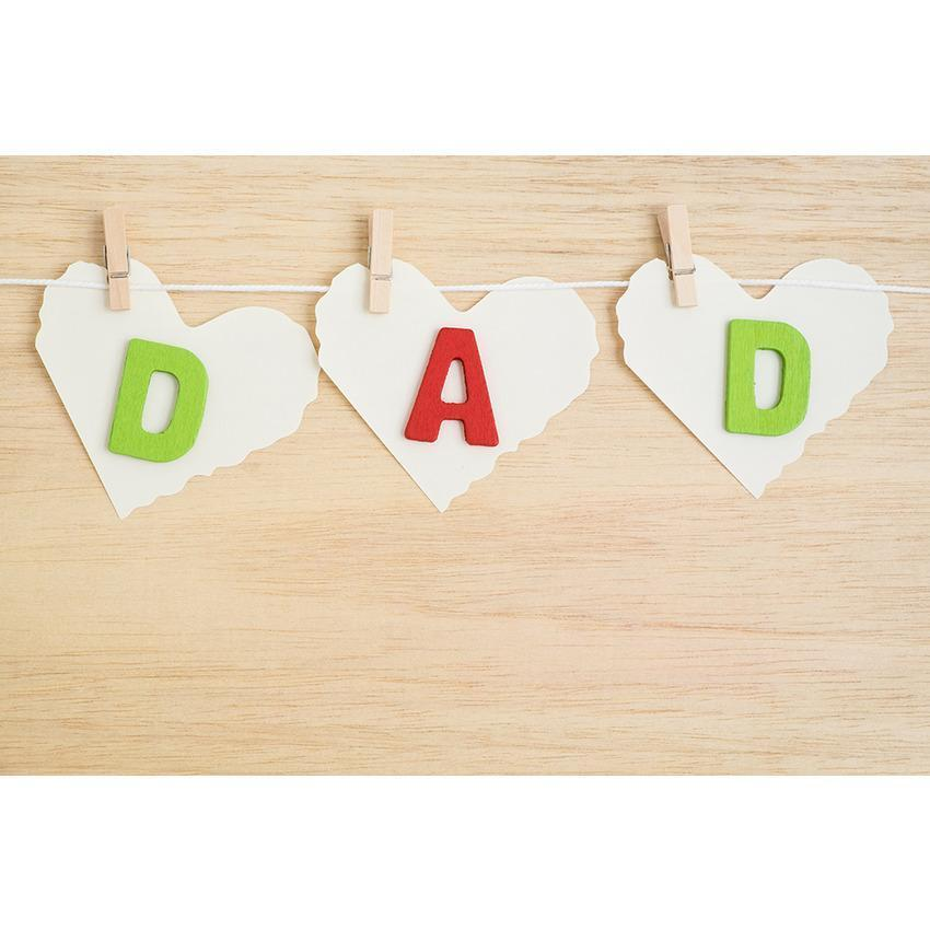 DAD Love Heart And Brown Wood Floor Backdrop for Father's Day Photography