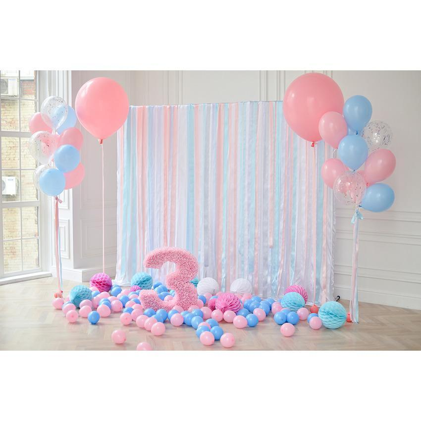 Colorful Balloons Photography Backdrop For Celebrate Baby First Birthday
