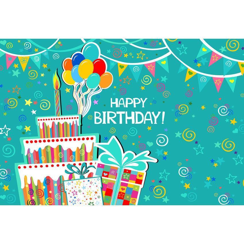 Birthday Cake and Gift Backdrop For Happy Birthday Photography