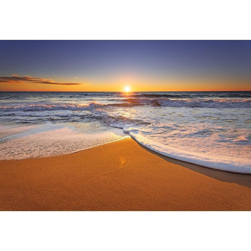 Sunset Gold Sand Beach Ocean Backdrop For Holiday Photography