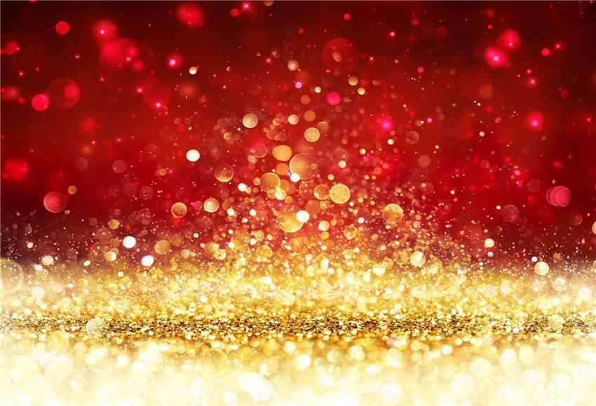 Red Gold Bokeh Christmas Photo Studio Backdrop