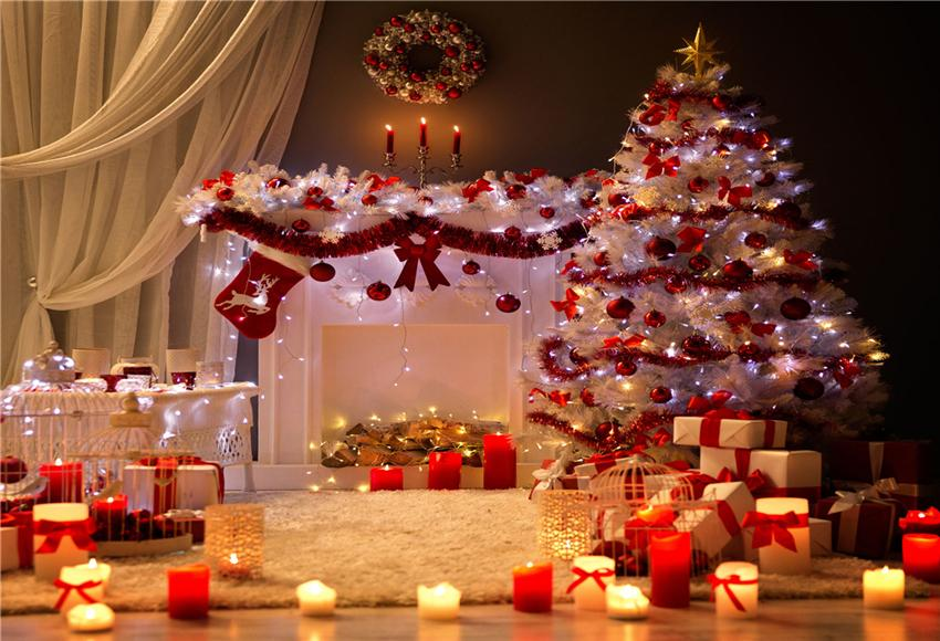 White Curtain Christmas Backdrop Red Socks Photography