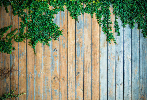 Retro Blue Wood Wall Green Creeper Photography Backdrop