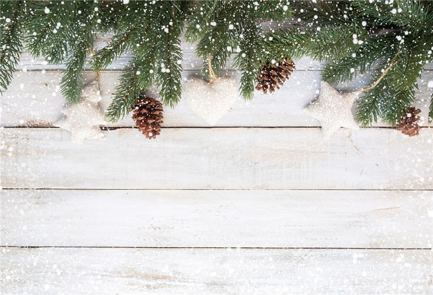 White Wood Wall Winter Snow Christmas Backdrops