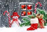 Dark Grey Wooden Window Christmas Snow Photo Backdrops