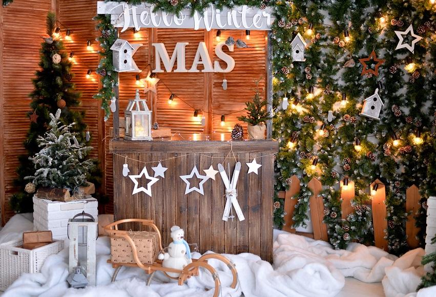 XMAS Wooden Christmas Snow Backdrop for Tester