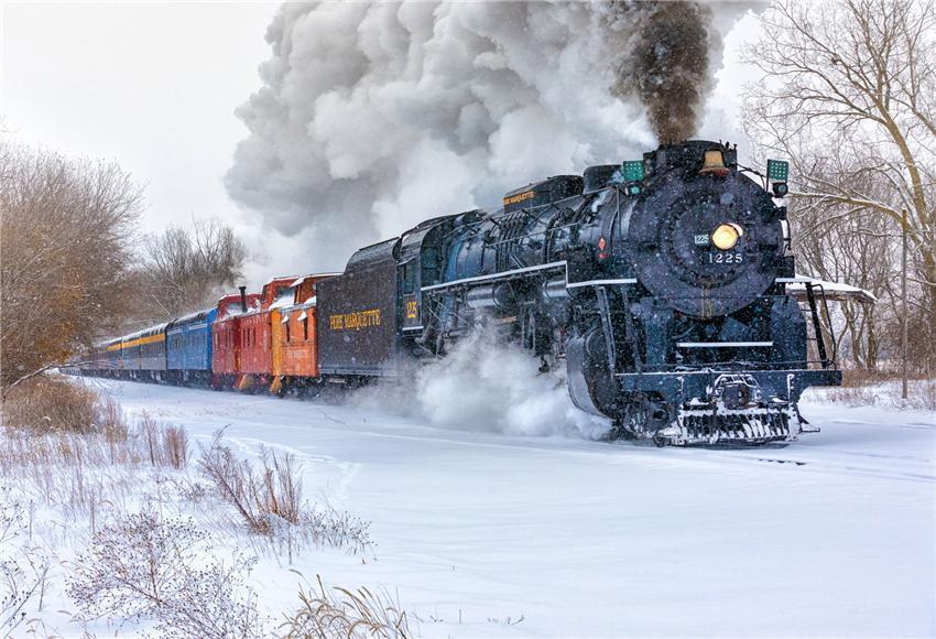 Vintage Train Winter Snow Photo Booth Backdrops