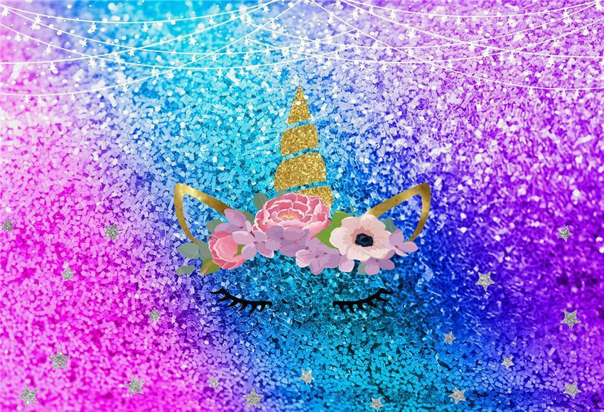 Shiny Unicorn Birthday Baby Show Backdrop Decor
