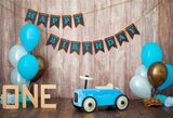 1st happy Birthday Retro Car Blue Brown Wooden Backdrop Photography