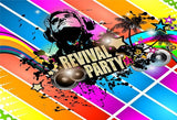 Retro Revival Music Party Colorful Backdrop for Photography Prop
