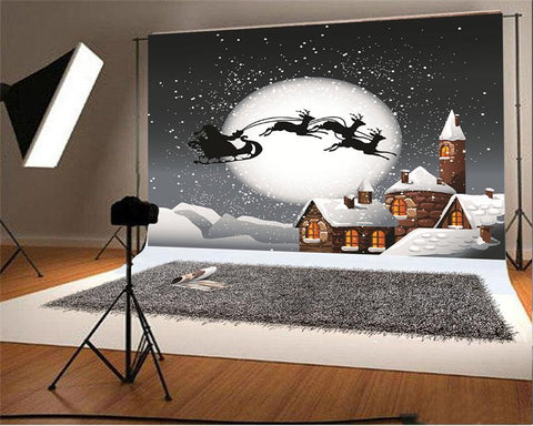 Big Moon Christmas Santa Claus Snow Winter Backdrops