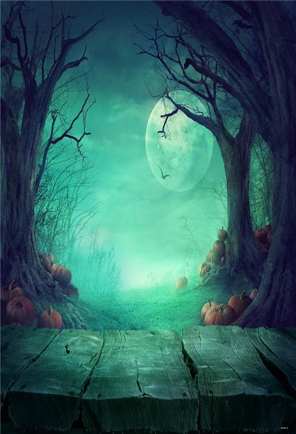Wood Floor Branches Night of Halloween Photo Backdrops