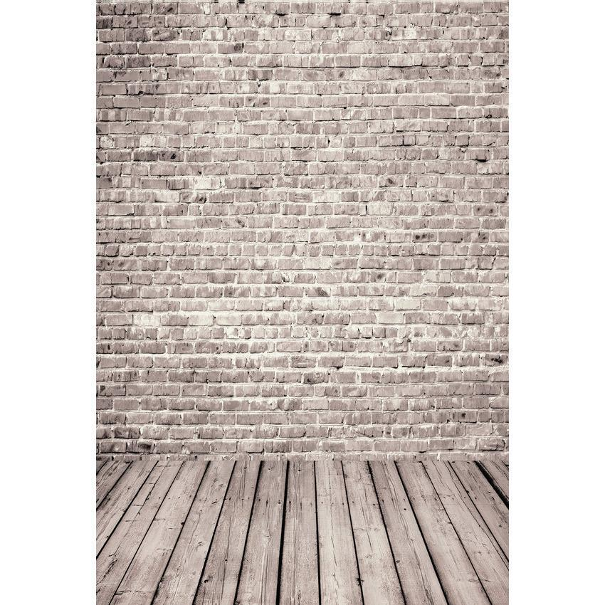 Old Brick Wall With Wood Floor Background For Photography Backdrop