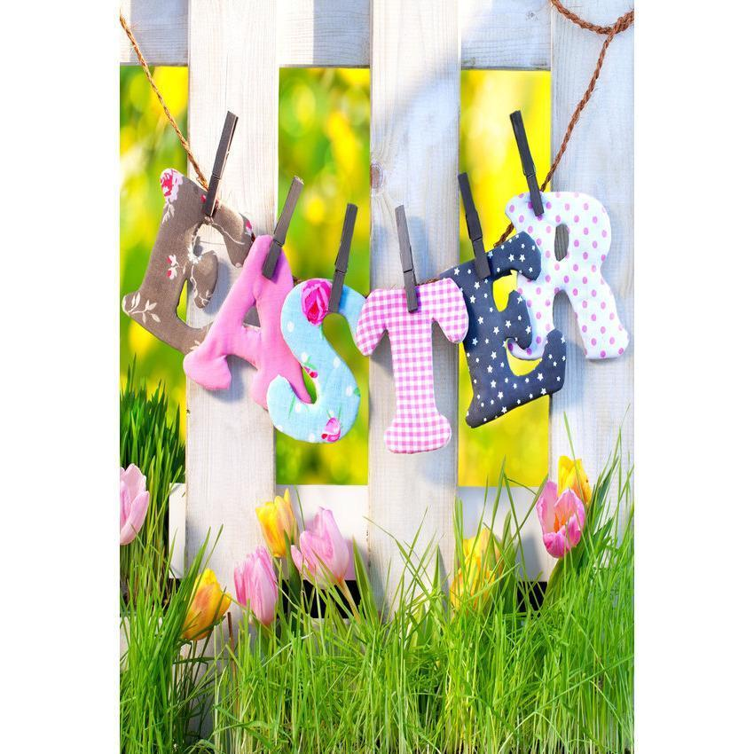 Easter Festival Green Grass and Flower Backdrop For Photography Background