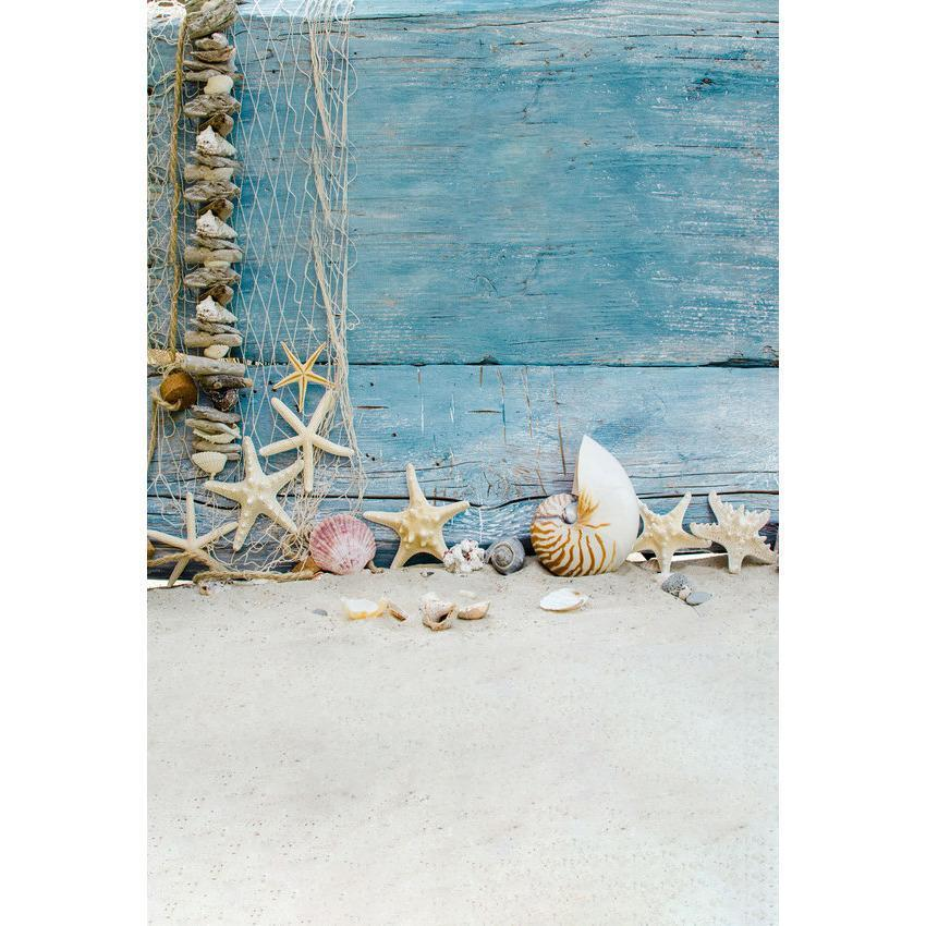 Starfish And Shellfish Before Blue Wood Floor For Summer Seaside Backdrops